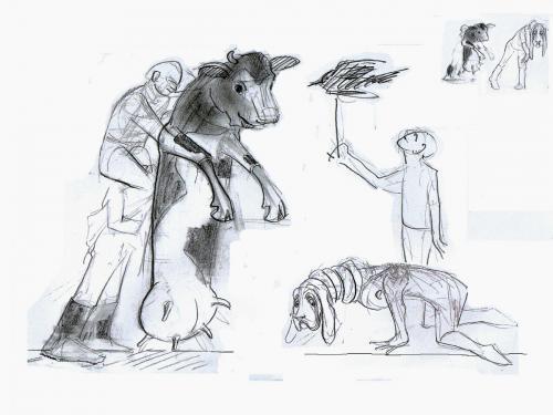 """Entwurf für Bühnenfiguren-""""Ein Hauch von kaltem Wetter"""",Theater an der Parkaue,Regie: Yüksel Yolcu"""