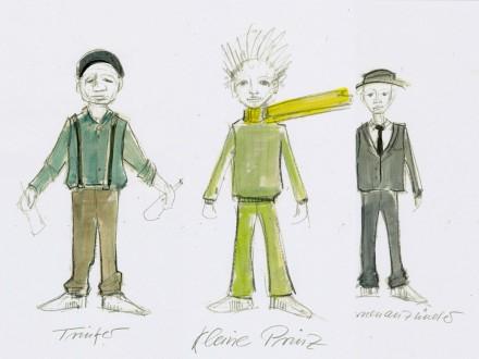 """Entwurfsskizze zu Figurenbau Puppenbau """"Der kleine Prinz"""" Regie: Milena Paulovics, Theater der jungen Welt Leipzig"""