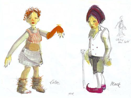 """Kostümskizzen """"Der kleine Muck"""",Theater Chemnitz,Regie: Tatjana Rese, Figurenbau, Puppenbau und Kostümwerkstatt ATELIER MÄHLER"""