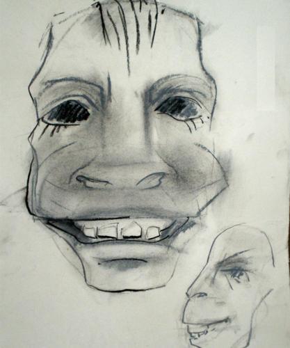 Skizze zum Entwurf einer Maske, Auftraggeber: Theatre Thump